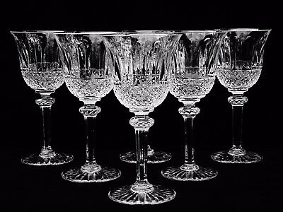 """6 Exquisite St Louis Crystal """"tommy"""" Continental Water Goblets ~ Brilliant Cuts"""