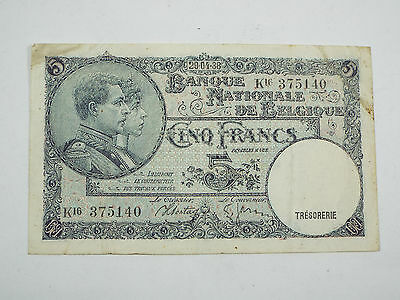 1938 Belgium 5 Francs - (1988) Date Error Note