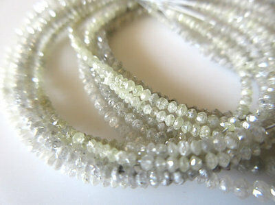 25 Strands Wholesale Lot Tiny All 2mm White Grey Diamond Faceted Beads - DDS326