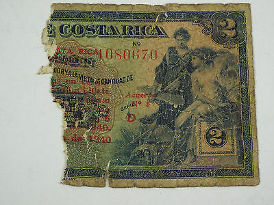 1940 Costa Rica 2 Colones - Half of the Bank Note