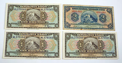 Lot of 4 - 1919 Haiti 1 & 2 Gourdes - 2 Consecutive Numbers P 170 - Signed