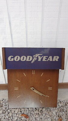 VTG Wall Clock GOODYEAR TIRES  Non-working  For Parts / Repair SOLID PROJECT
