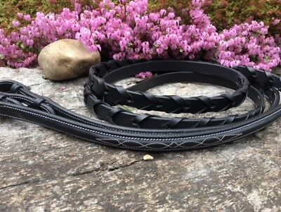 Leather Plaited Reins with Fancy Stitching  Pony Cob Full, XFull