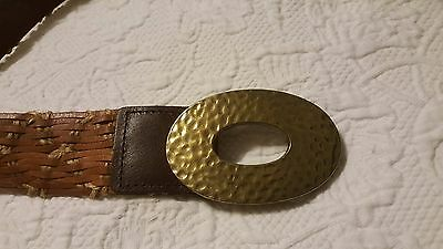 """Leather Belt - n - Hammered Brass or Toned  Buckle -  Sz L     46"""" Long total"""