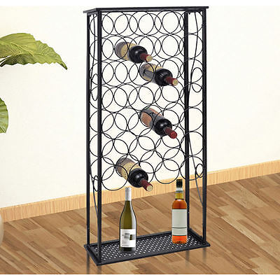28 Bottle Wrought Iron Wine Rack Stand in Black