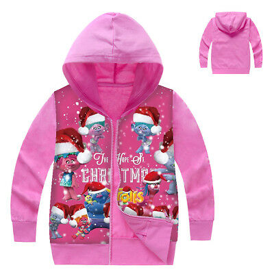 Cute Trolls Kids Girls Christmas Cosplay Party Hoodie Jacke Zipper Sweatshirt