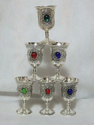 Six Miao Silver Liquior Goblets with Glass Gem Stone Detail