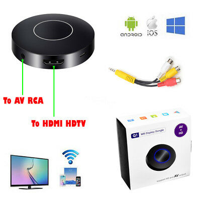 WiFi Push Display Dongle Receiver HDMI AV Analog TV Stick DLNA Airplay Miracast