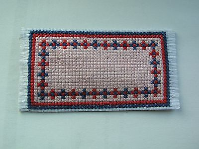 Dolls house rug cross stitch pink blue and red handmade