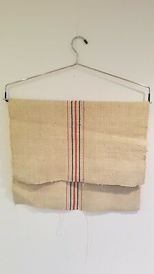 Vintage French Linen Hessian Hemp Sacking Blue Red Striped Ticking Fabric