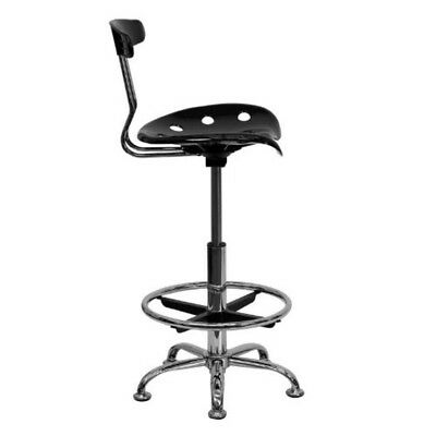 Tractor Seat Drafting Stool Chrome With Vibrant Black