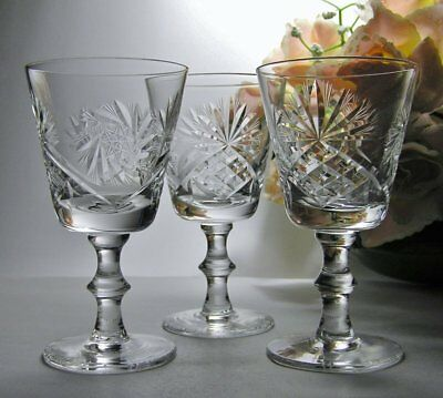 3 x Beautifully CUT Vintage GLASSES ~ Large SHERRY or DESSERT WINE Stemware