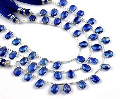 """1 Strand Natural Kyanite Pear Shape Approx- 6x8-7x10mm Faceted Gemstone 8"""" Long"""