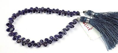 """1 Strand Natural Iolite Faceted Pear Shape Gemstone 6x4mm Briolette Bead 7"""" Long"""