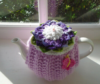 Hand Knitted  Flower Tea Cosy  For A Small Teapot Crochet Butterfly