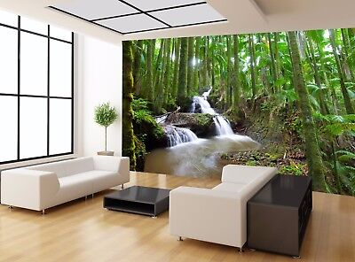STREAM RIVER WATER FALL GREEN FOREST Wall Mural Photo Wallpaper GIANT WALL DECOR