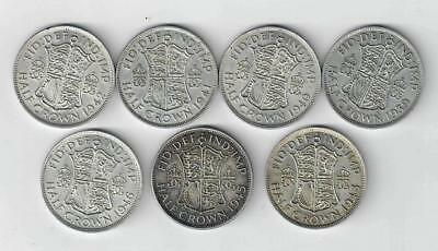 A selection of 7 GV1 HALFCROWNS . 1939/43 consec. 45/6 . Total weight 98 gms .
