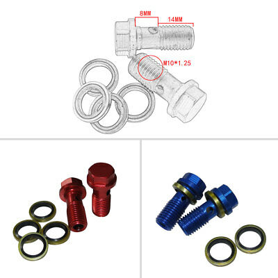 2 Pcs Brake Cluth Radiator Hose Banjo Bolts Washers M10 x 1.25 Motorcycle