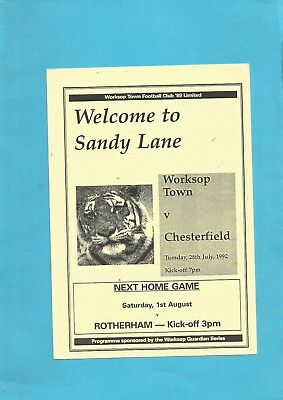 Friendly Worksop Town v Chesterfield 28th July 1992 VGC