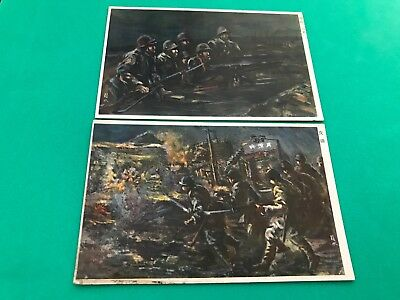 WW2 DRAWING JAPAN ARMY IN THE CHINA VIEW POSTCARD 3 pieces