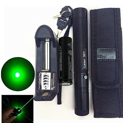 10 Miles Green 1mW 532nm Laser Pointer Pen Light Burning Zoom + Battery +Charger