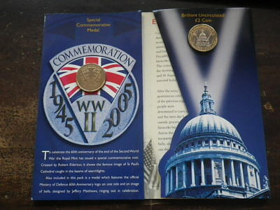 Great Britain 2005 END OF WWII 60TH ANN £2 Coin & Medal PRESENTATION PACK