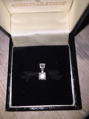 Real Diamond White Gold Pendant Only .20ct