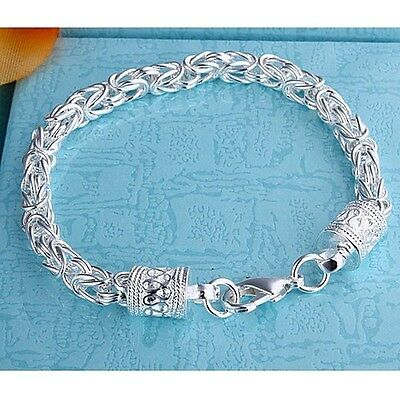 Xmas Gift  925SOLID SILVER Jewelry CLASSICAL MEN Chain Bracelet Bangle FREE P&P