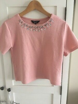 Girls, New Look, Age 12-13, Pretty, Pink, Short Sleeve Top, Embellished Neckline