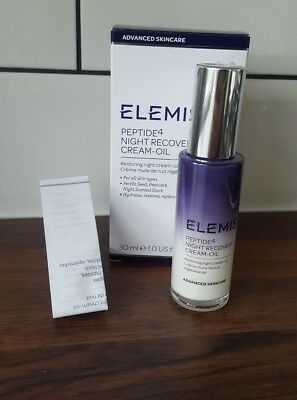 Elemis Peptide4 Night Recovery Cream-Oil Full Size 30ml RRP £49 NEW BOXED