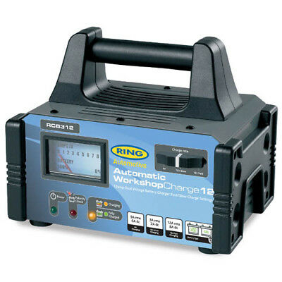 Ring Automotive 6V 12V 12Amp Fully Auto Battery Charger Metal Case