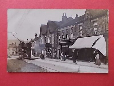 postcard Station Road, Hadfield with double deck tram