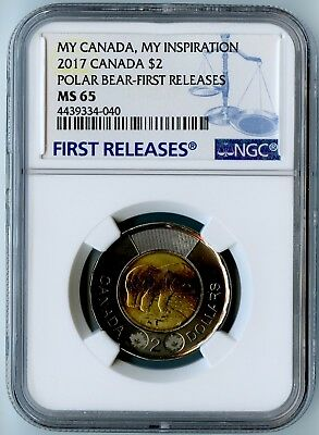 2017 Canada Ngc First Releases Ms65 My Canada, My Inspiration Polar Bear $2!