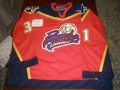 Louisville Panthers road Game Issued Hockey Jersey #31 Mullin Bauer 58G AHL