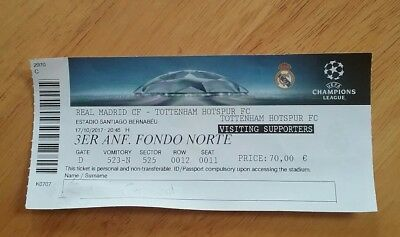 Real Madrid V Tottenham Hotspur Used Champions League Match Ticket 17/10/2017