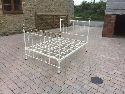 Antique Victorian Cast Iron & Brass  Double Bed Frame