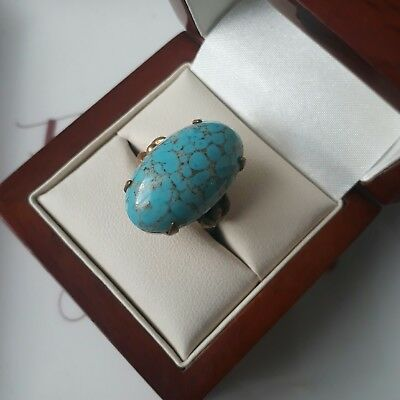 Vintage Faux Turquoise Glass Gem Cabochon Cocktail Adjustable Ring Jewellery
