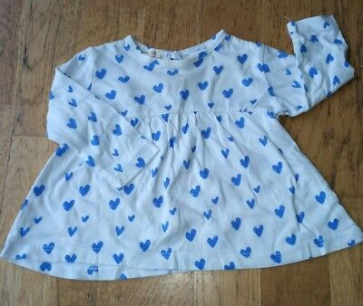 zara 3-6 months blue heart long sleeved tunic