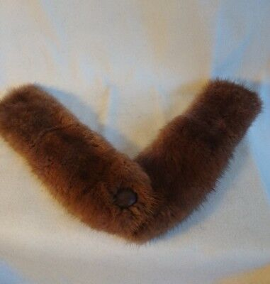 Vintage Brown Mink Fur Collar with Button in Center 1950's detachable
