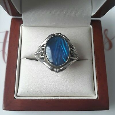 Vintage Genuine Butterfly Wing Cabochon Cocktail Adjustable Ring Jewellery