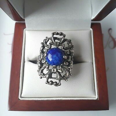 Vintage Faux Lapis Lazuli Glass Gem Cabochon Cocktail Adjustable Ring Jewellery