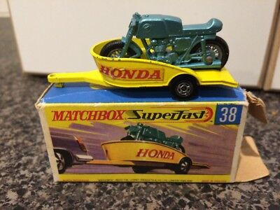 Matchbox Superfast Honda Motorcycle with Trailer No. 38 in Original Box