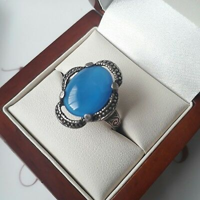 Vintage Signed Miracle Celtic Blue Cabochon Cocktail Adjustable Ring Jewellery