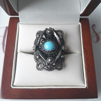 Antique Vintage Solid Continental Silver Filigree Turquoise Ring Sz N Jewellery