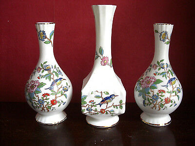 Aynsley Pembroke 3 Vases Birds of Paradise Ref H3