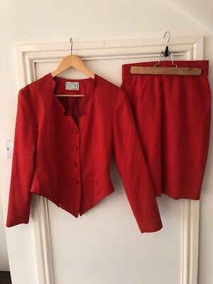 Ladies Red Vintage 80's Skirt And Jacket Size 12
