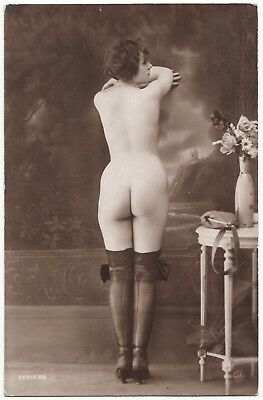 1920 Original French Erotic Rppc Nude Sexy Girl Round Butt Stocking Jean Agelou