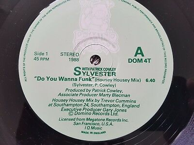 """Sylvester With Patrick Cowley Do You Wanna Funk 12"""" Domino Records UK 1988"""