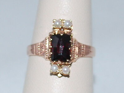 10k Rose Gold ring with Garnet(January birthstone) and Pearls (June birthstone)