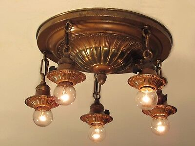 Restored Antique Brass Pan Light Fixture Chandelier Flush Mount c. 1920